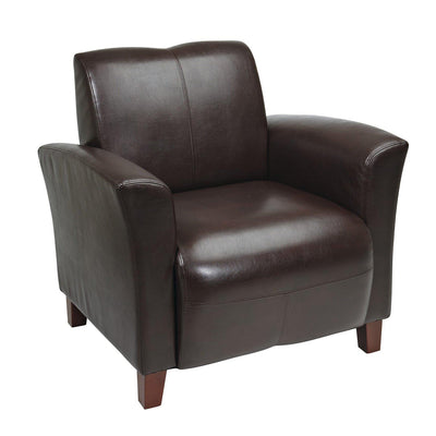 Breeze Bonded Leather Club Chair with Cherry Finish Legs