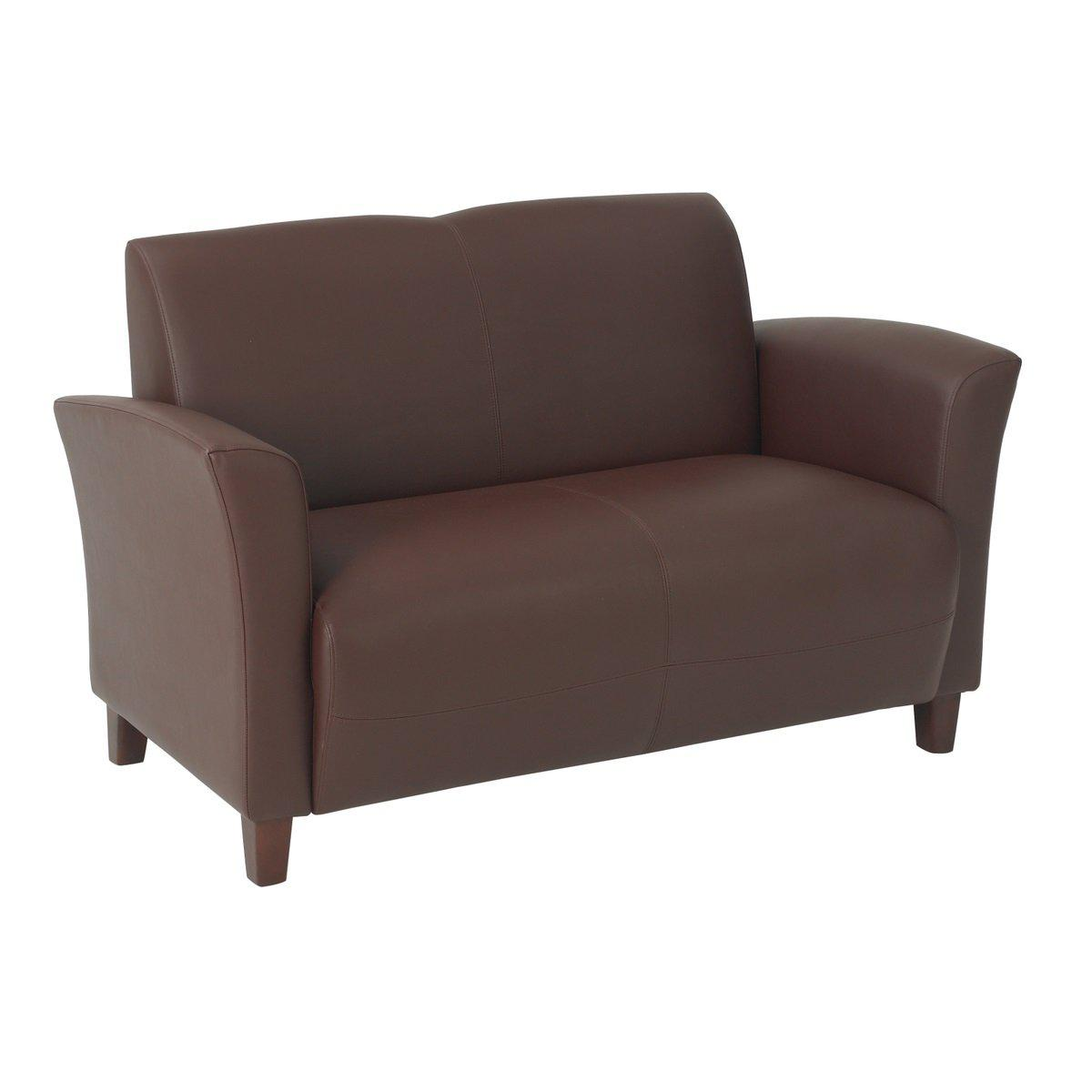 Breeze Bonded Leather Loveseat with Cherry Finish Legs