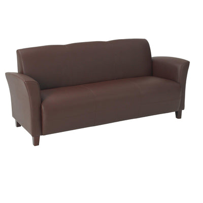 Breeze Bonded Leather Sofa with Cherry Finish Legs