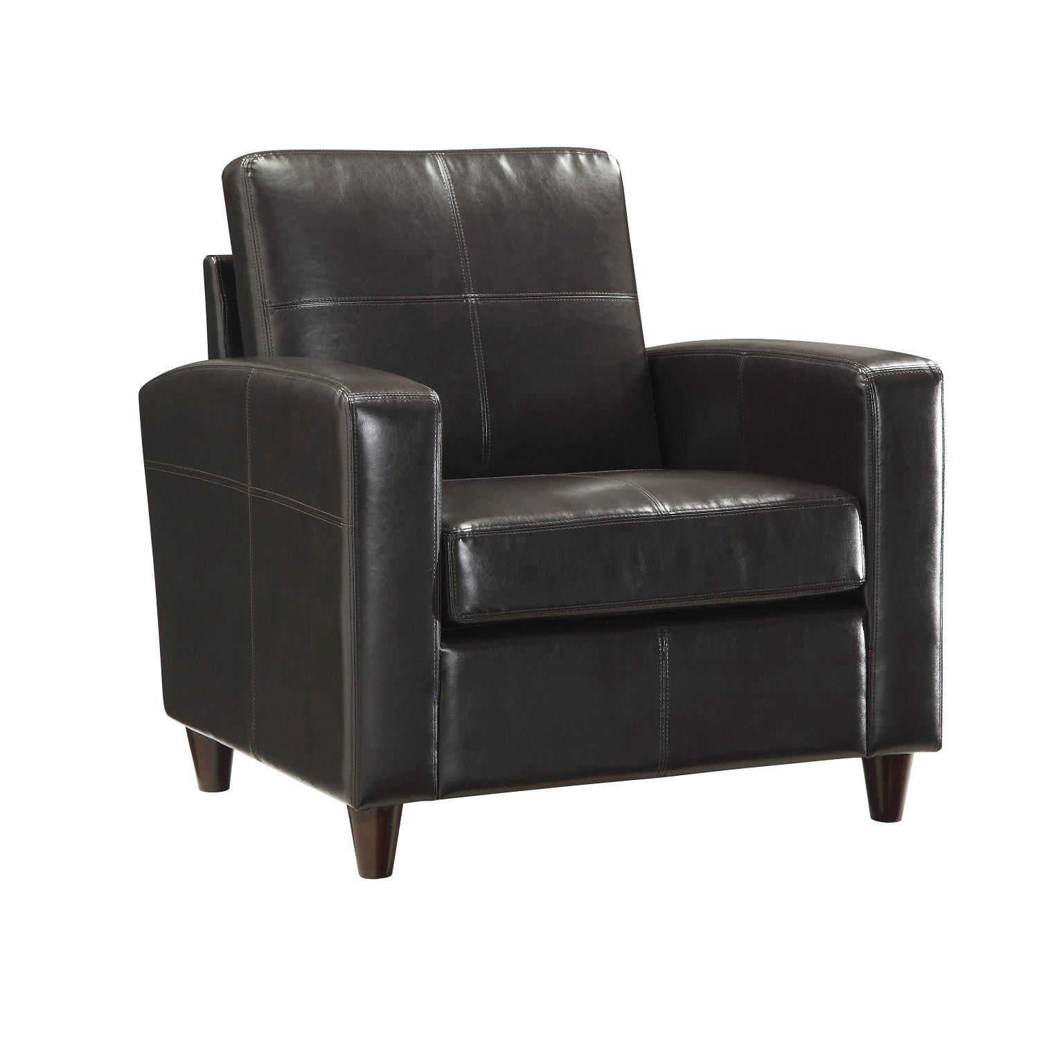 Bonded Leather Club Chair With Espresso Finish Legs