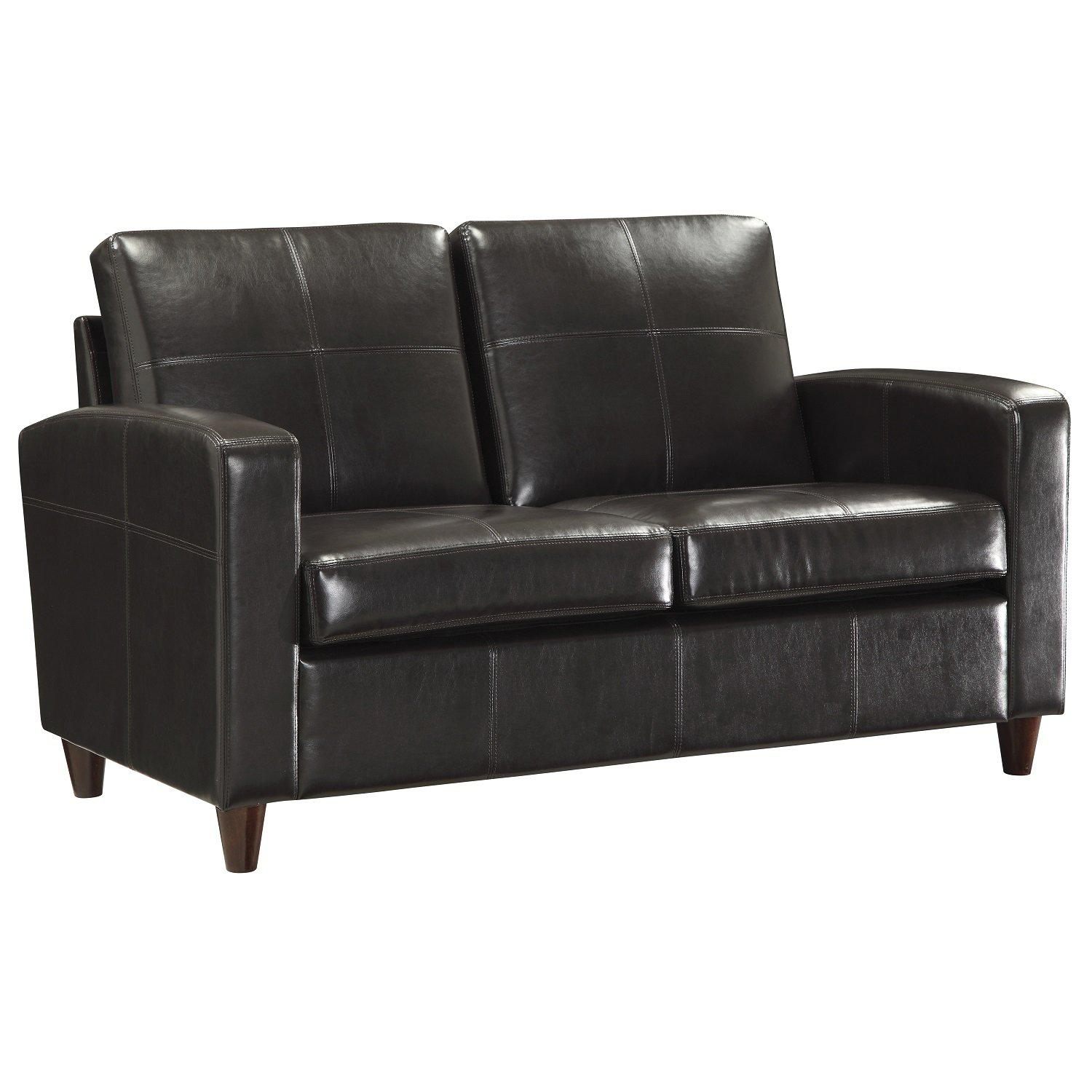 Bonded Leather Loveseat With Espresso Finish Legs