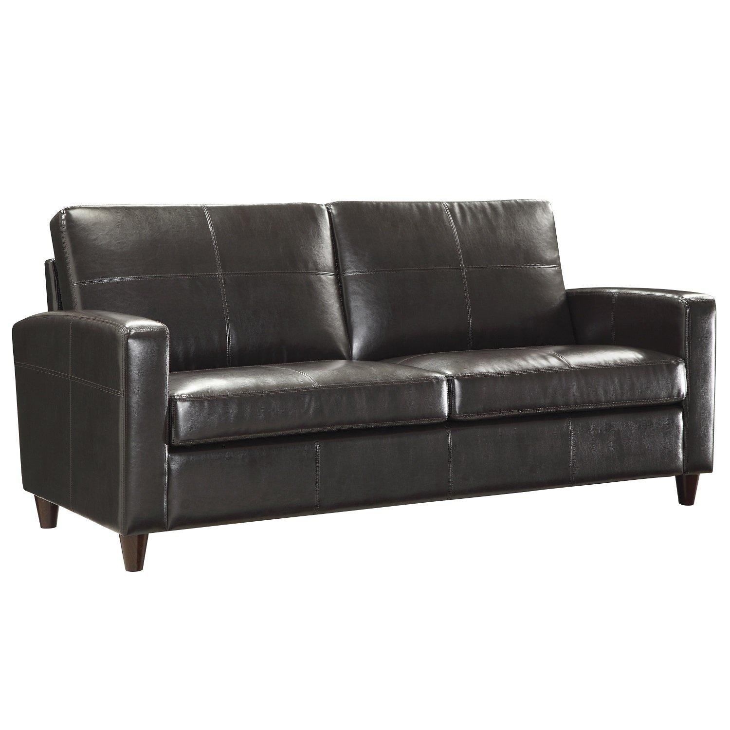 Bonded Leather Sofa With Espresso Finish Legs