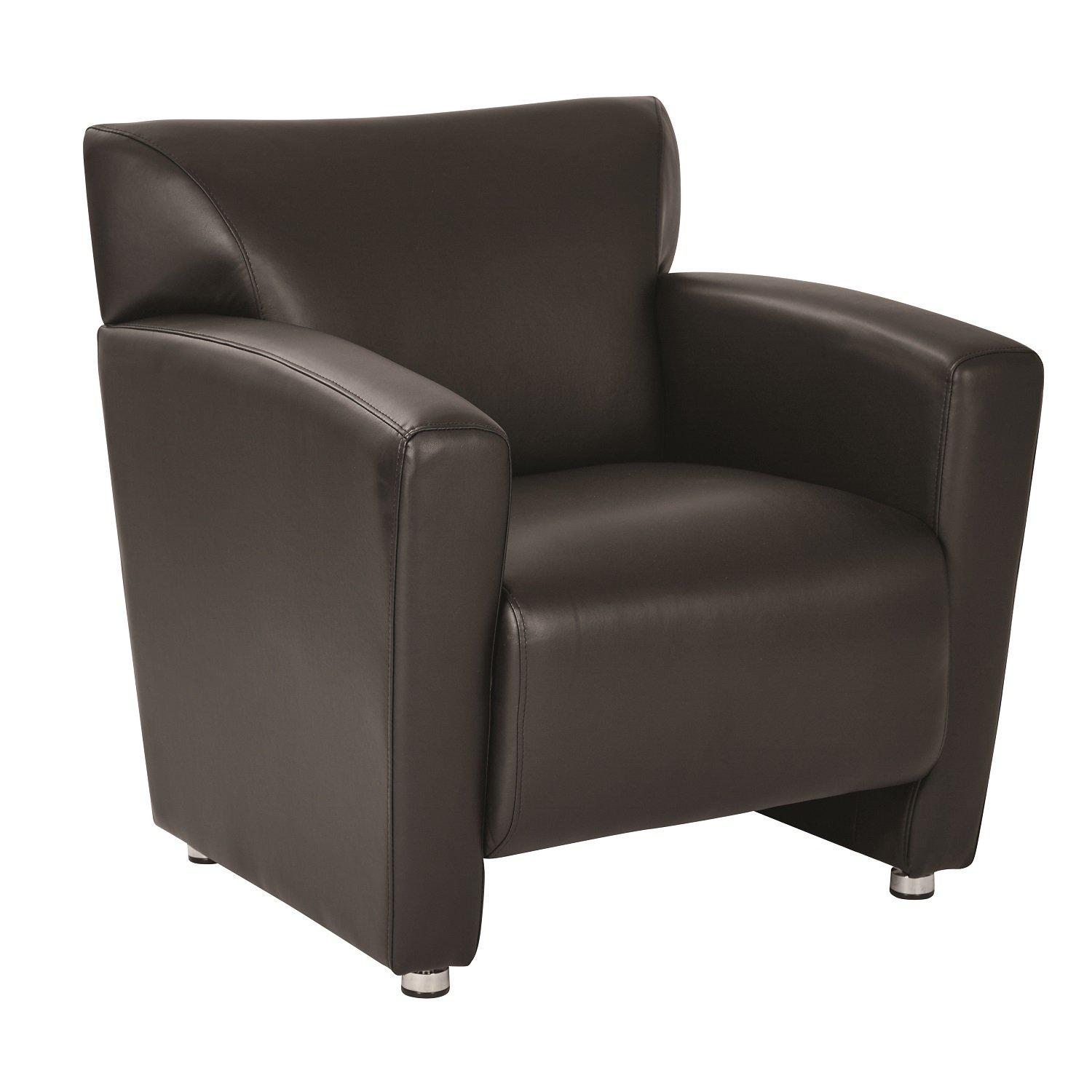 Black Faux Leather Club Chair with Silver Finish Legs