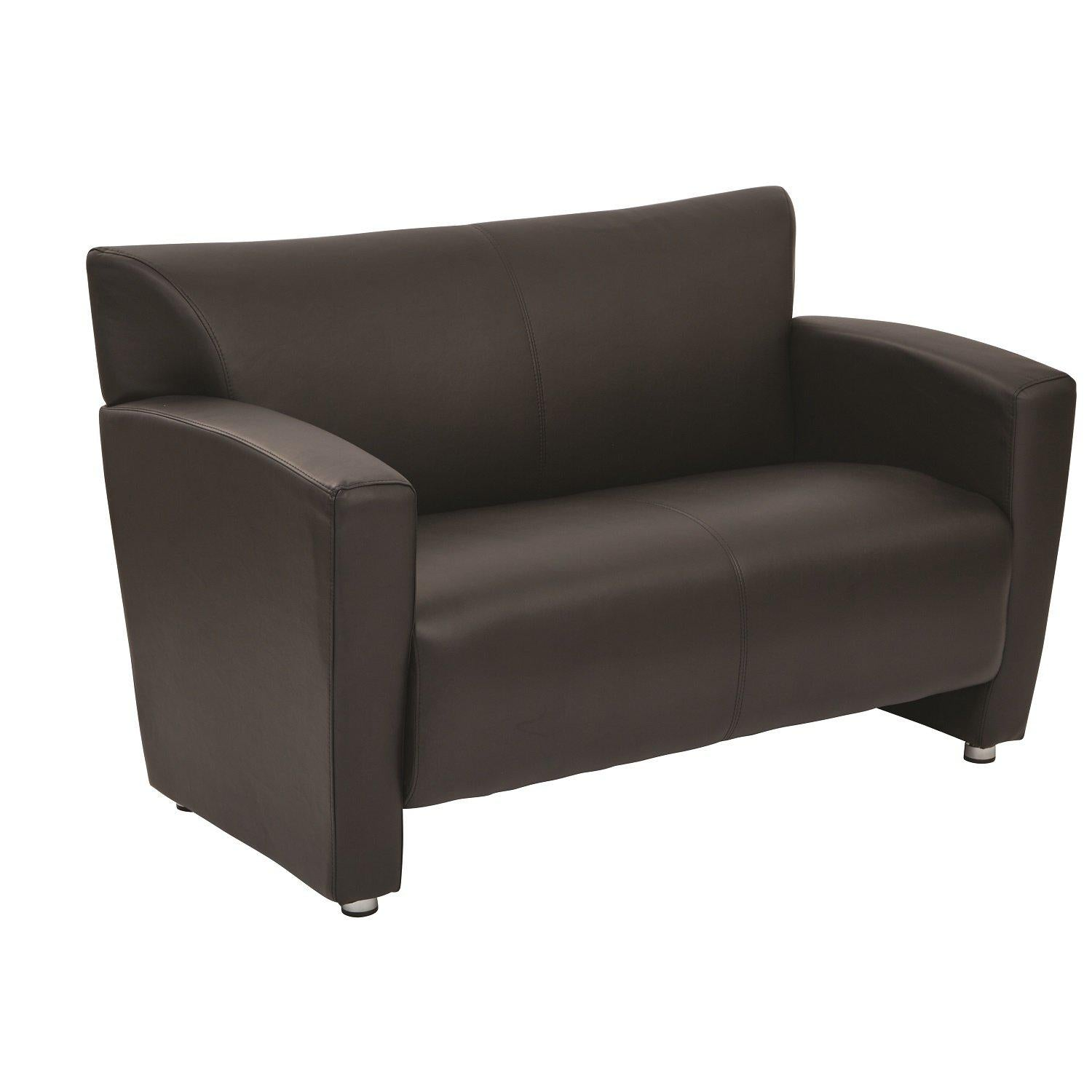 Black Faux Leather Loveseat with Silver Finish Legs