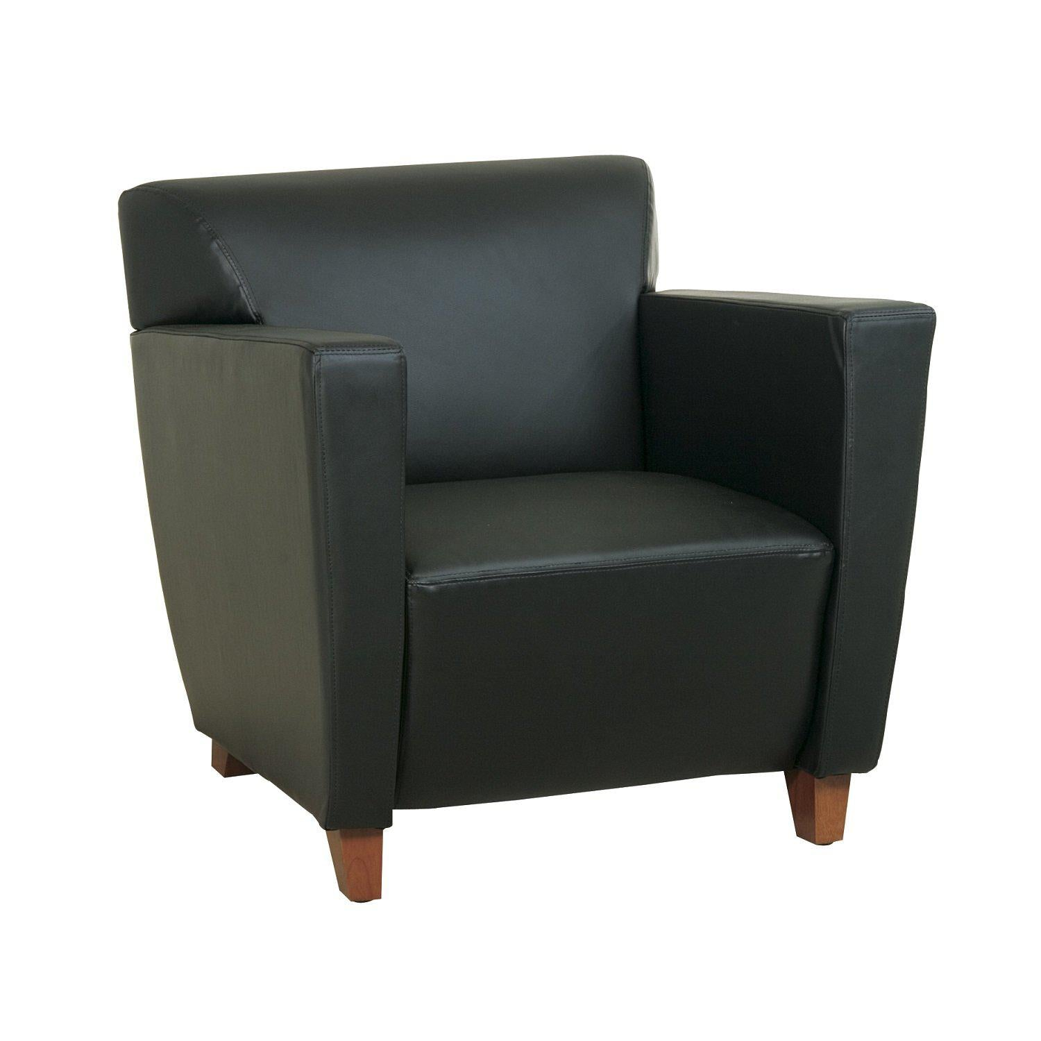 Black Bonded Leather Club Chair with Cherry Finish Legs