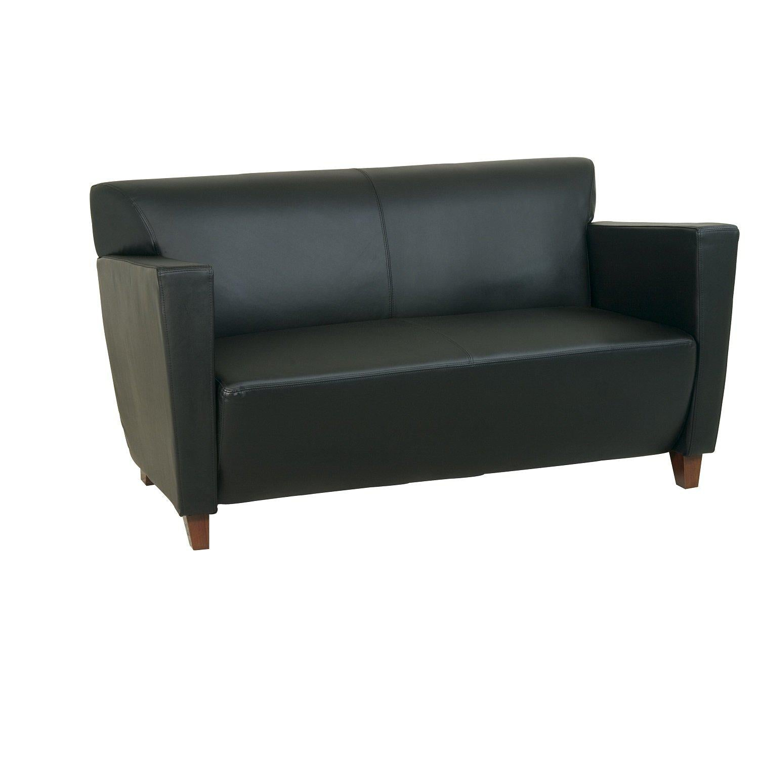 Black Bonded Leather Loveseat with Cherry Finish Legs