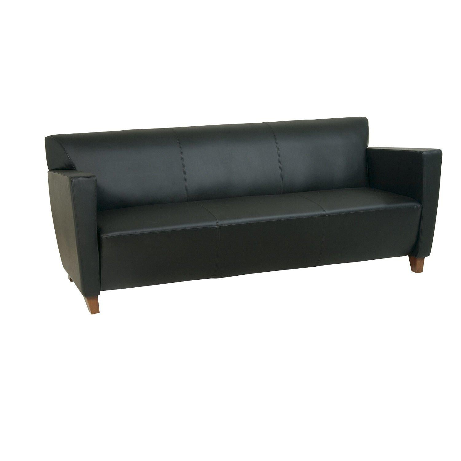 Black Bonded Leather Sofa with Cherry Finish Legs
