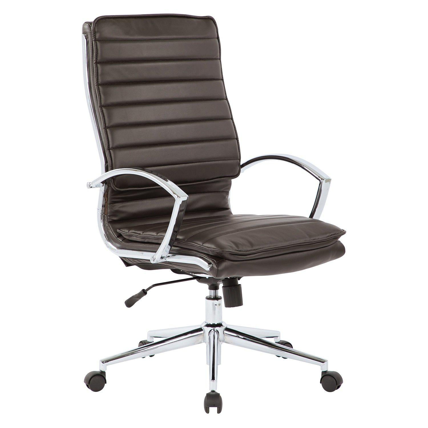 High Back Faux Leather Manager's Chair with Chrome Arms & Base