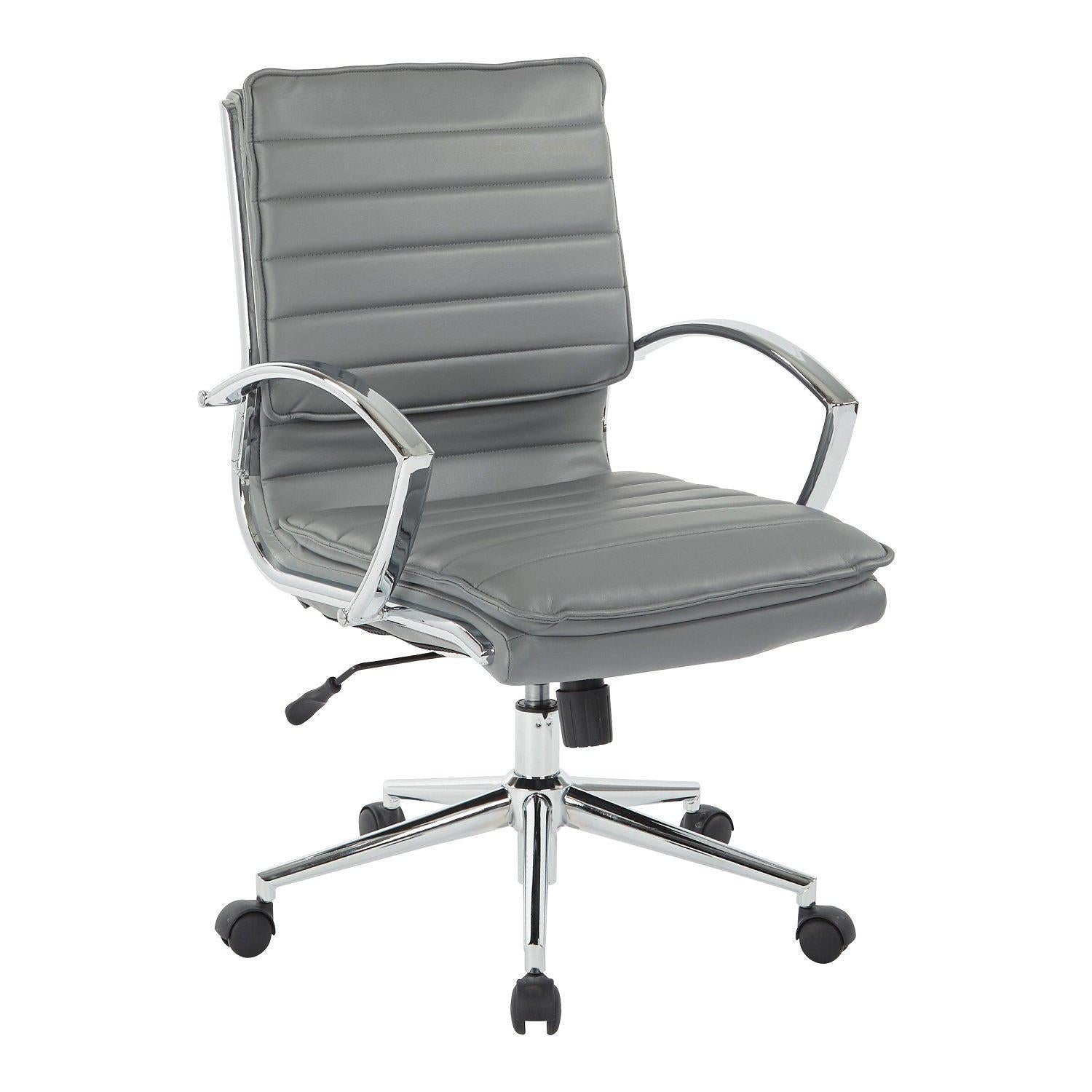 Mid Back Faux Leather Manager's Chair with Chrome Arms & Base