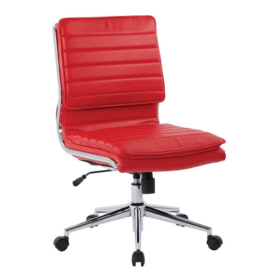 Armless Mid Back Faux Leather Manager's Chair with Chrome Base