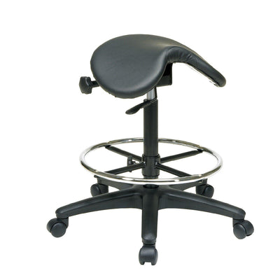 Backless Stool with Saddle Seat and Adjustable Foot Ring