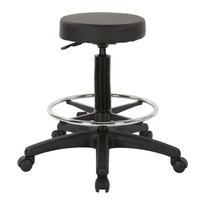 Backless Stool with Black Vinyl Seat and Adjustable Foot Ring