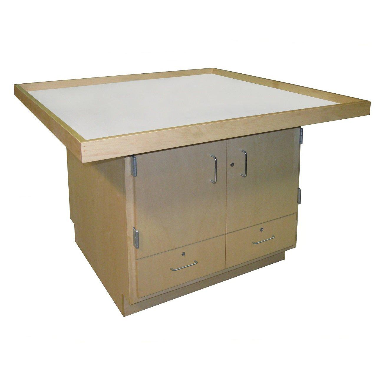 "STEM Robotics Workstation, Doors Over Drawers, 48"" x 60"" Lipped Top, 32"" High"