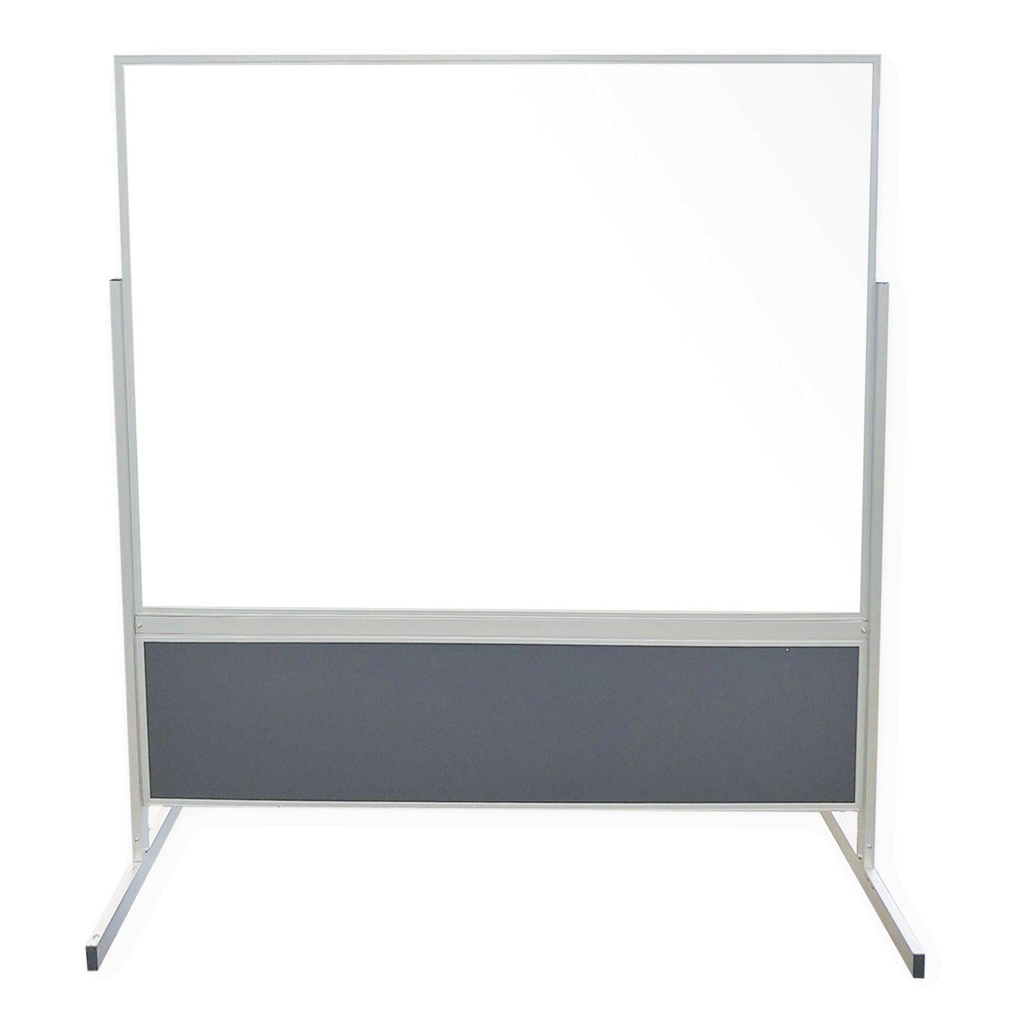 Double-Sided Mobile Partition, Magnetic Porcelain Whiteboard and Vinyl Tackboard with Aluminum Frame, 6' H x 6' W