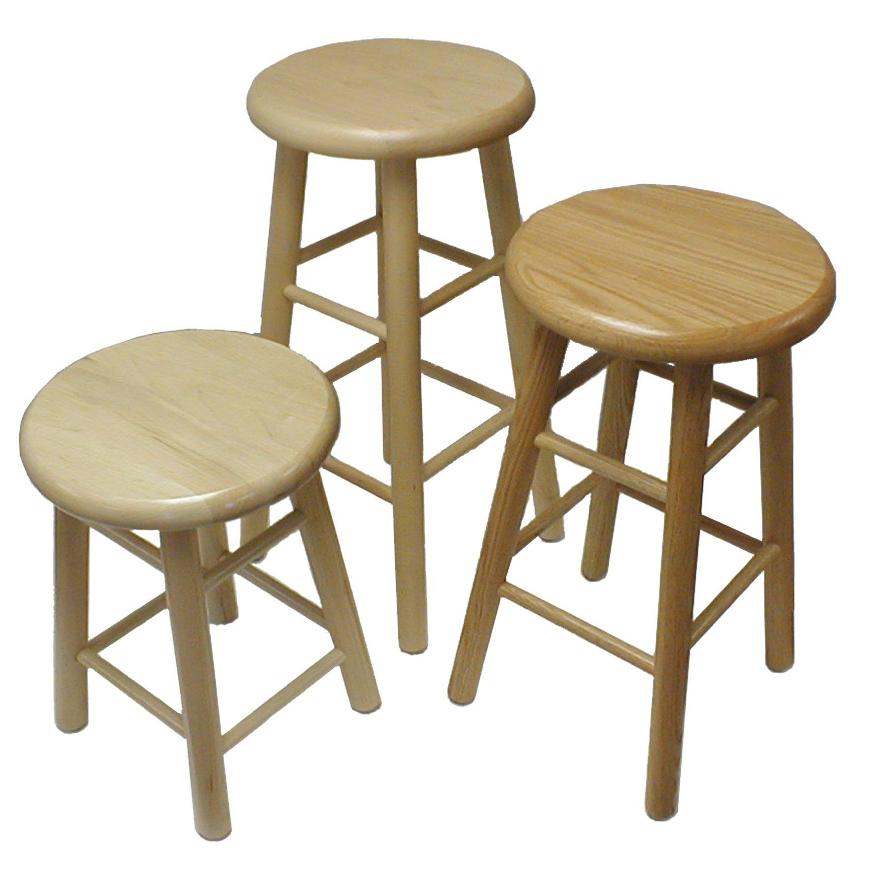 "Solid Wood Stool, 18"" High"