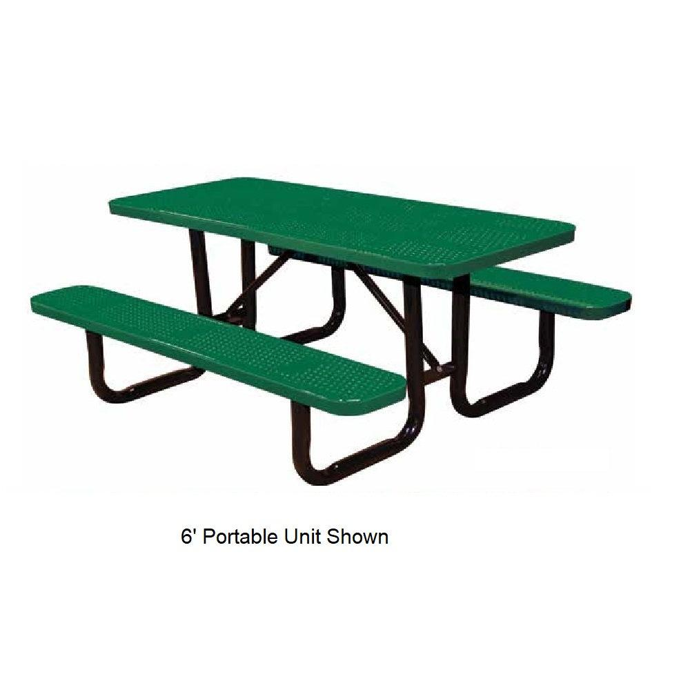 8' In Ground Perforated Picnic Table