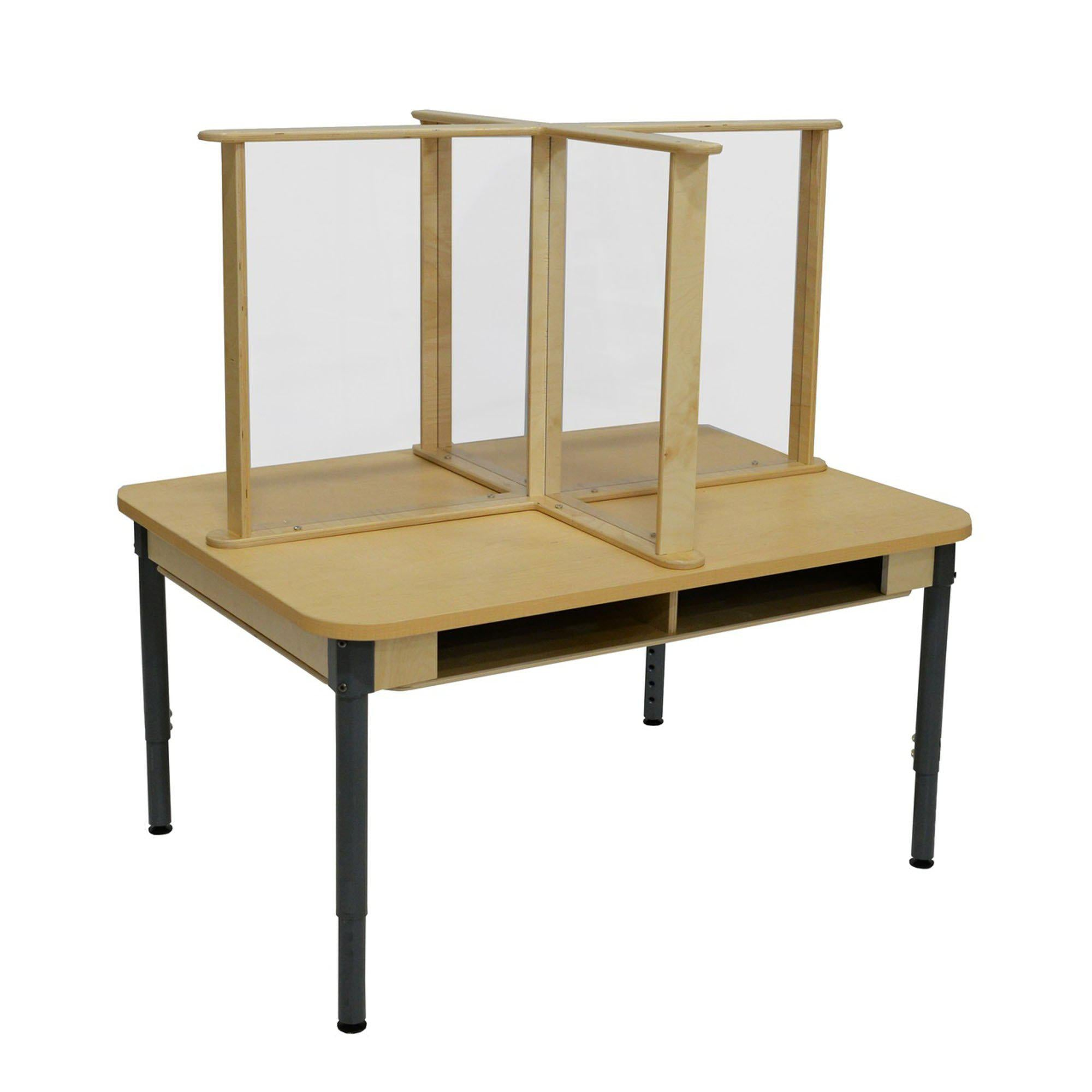 "Four-Person Desk with Sneeze Guard, 36"" x 48"""