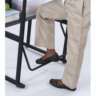 "AlphaBetter® Adjustable-Height Stand-Up Desk, 28 x 20"" Standard Beige Top, Book Box and Swinging Footrest Bar"