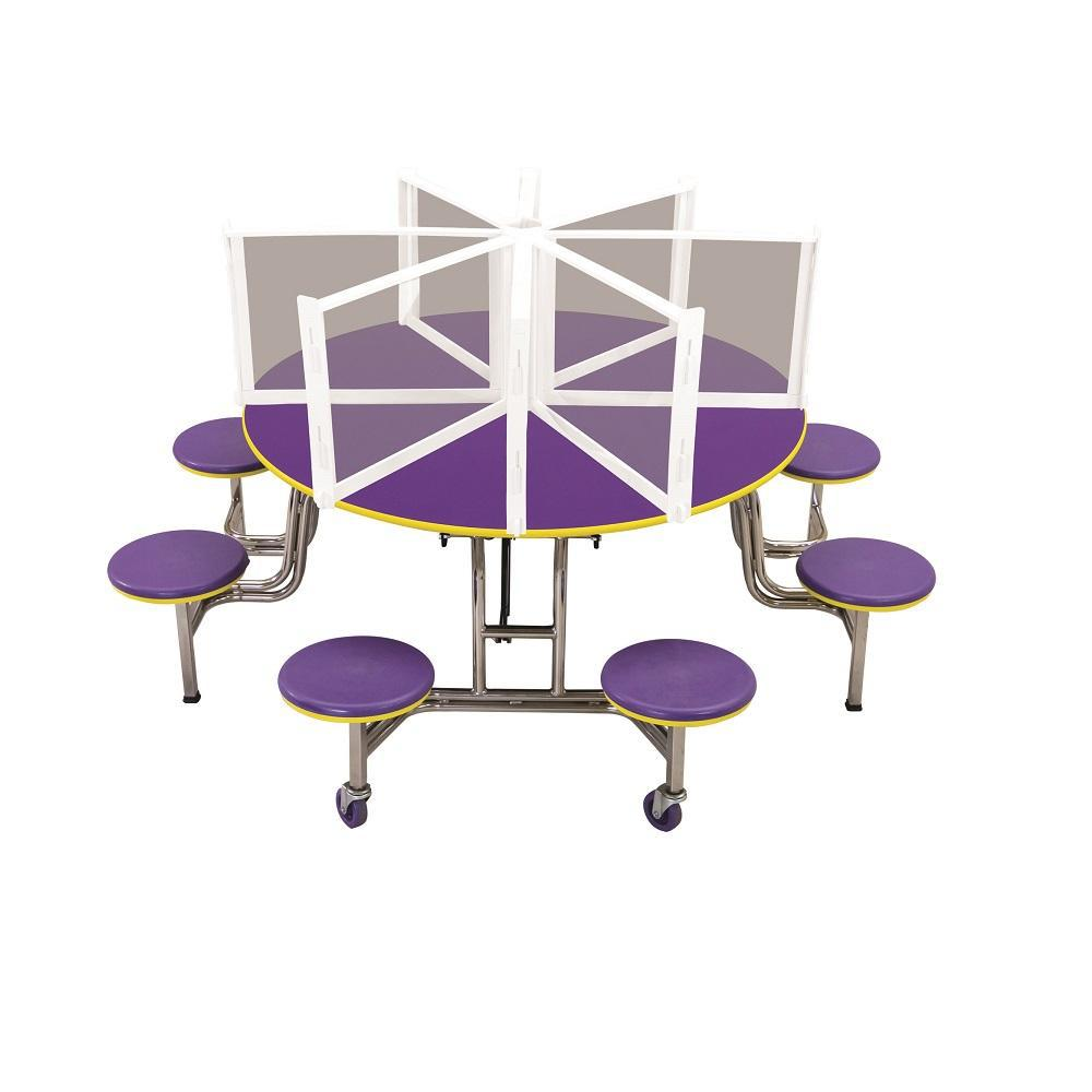 "Freestanding Table Shield for 60"" Round Cafeteria Tables"