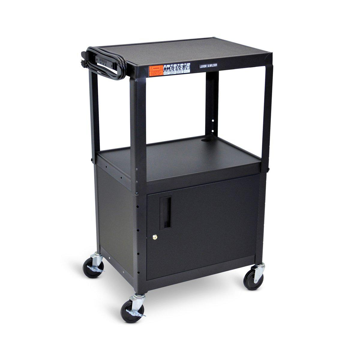 Adjustable-Height Steel AV Cart  with Cabinet