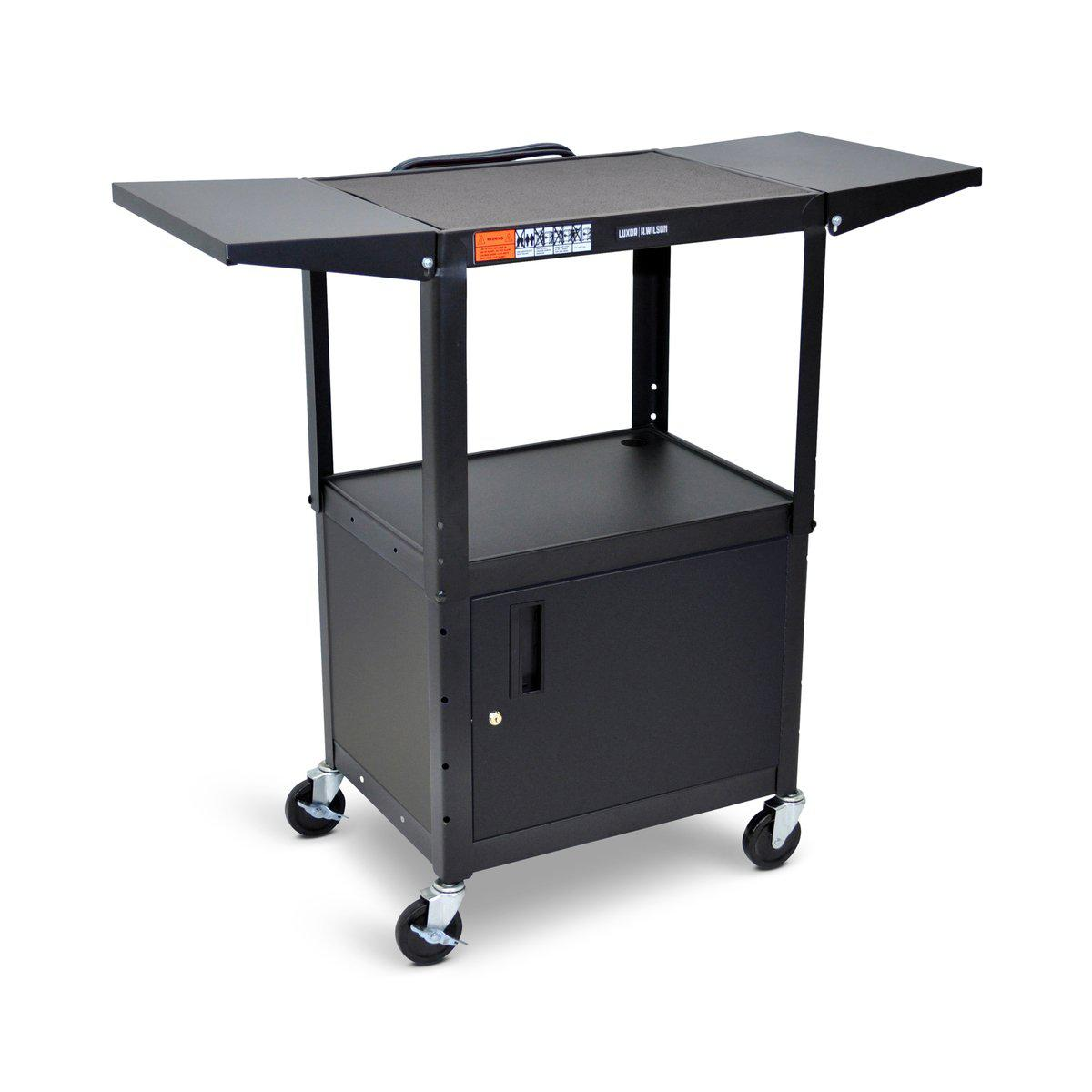Adjustable-Height Steel AV Cart with Cabinet and Drop Leaf Shelves