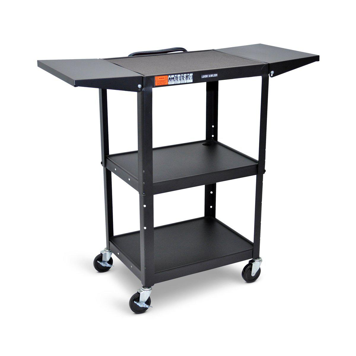 Adjustable-Height Steel AV Cart with Drop Leaf Shelves
