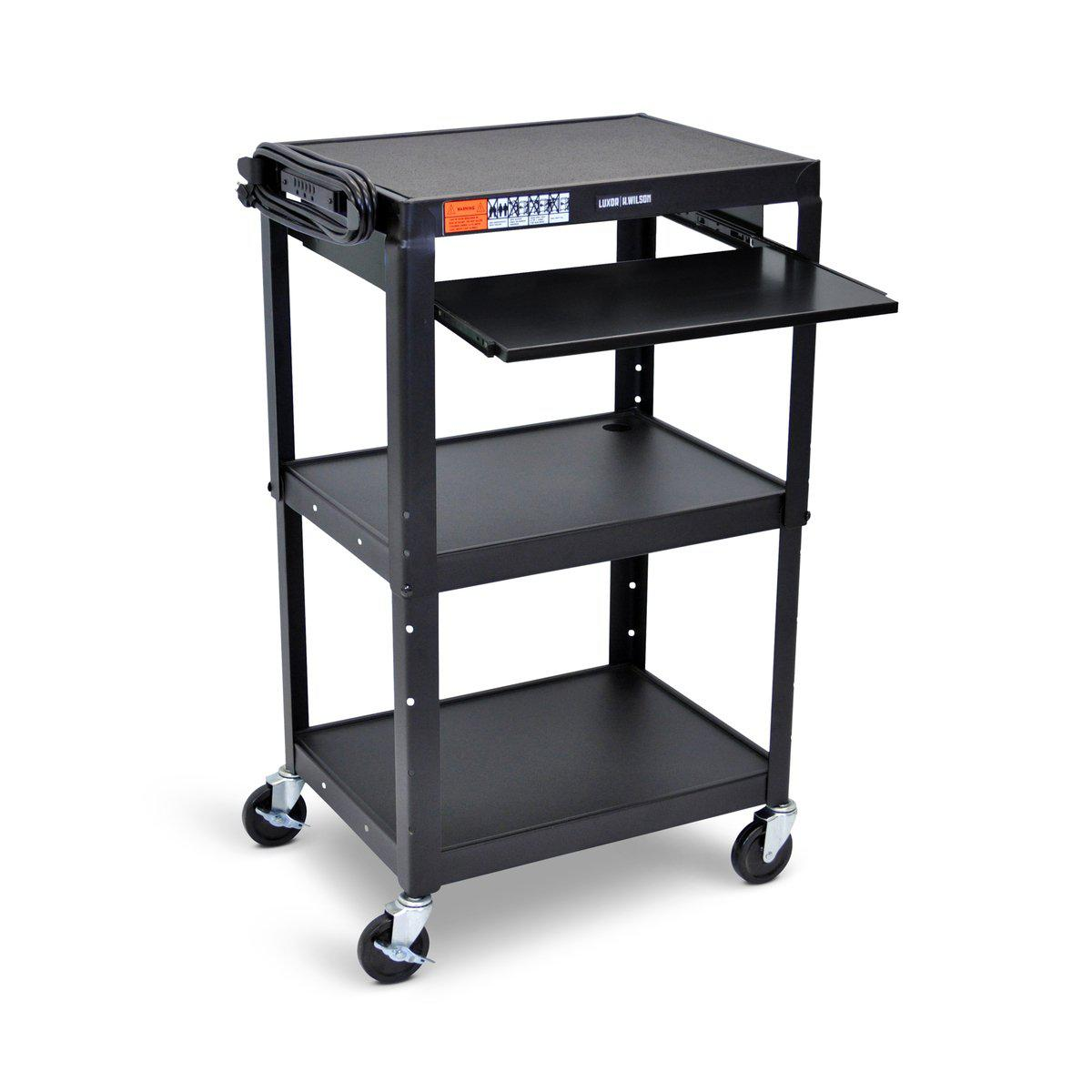 Adjustable-Height Steel AV Cart with Pullout Tray