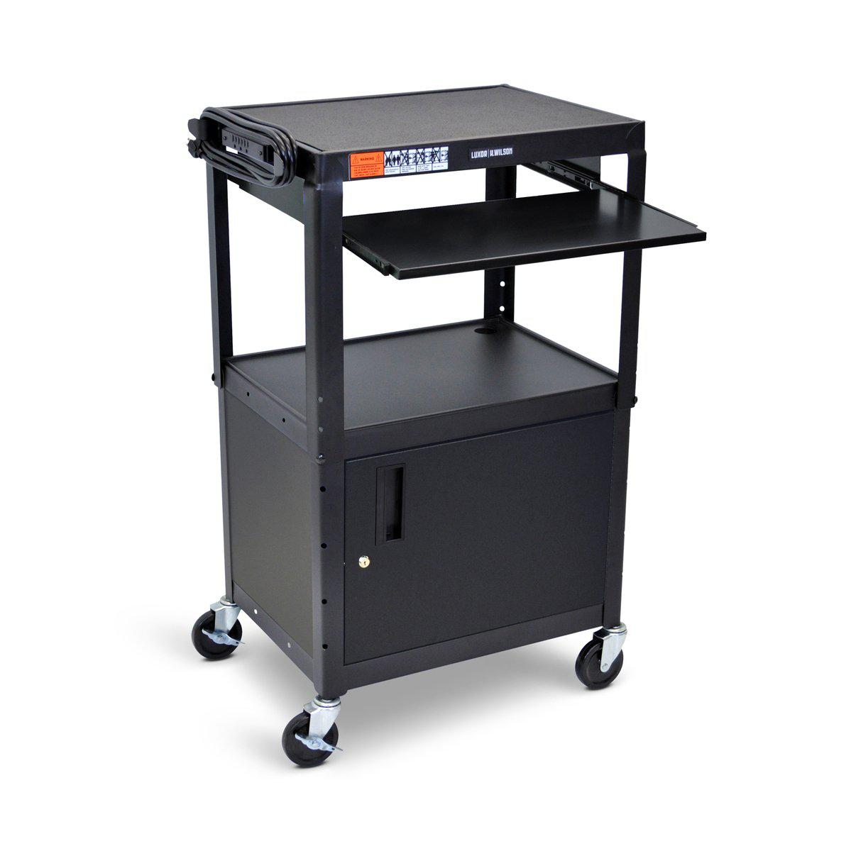 Adjustable Height Steel AV Cart with Cabinet and Pullout Keyboard Tray
