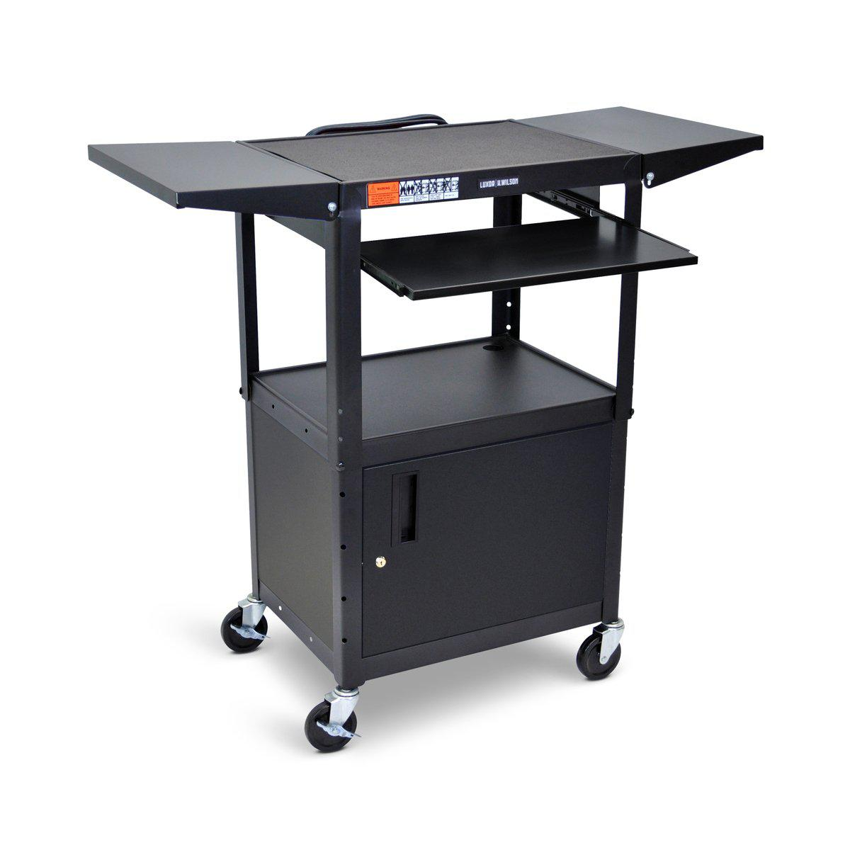 Adjustable-Height Steel AV Cart with Pullout Keyboard Tray, Cabinet and Drop Leaf Shelves