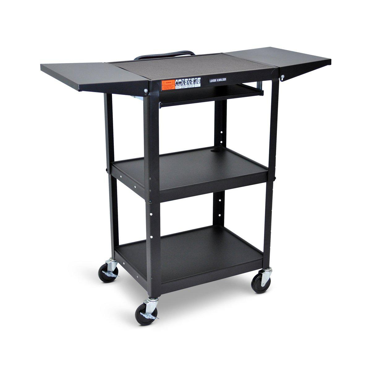 Adjustable-Height Steel AV Cart with Pullout Keyboard Tray and Drop Leaf Shelves