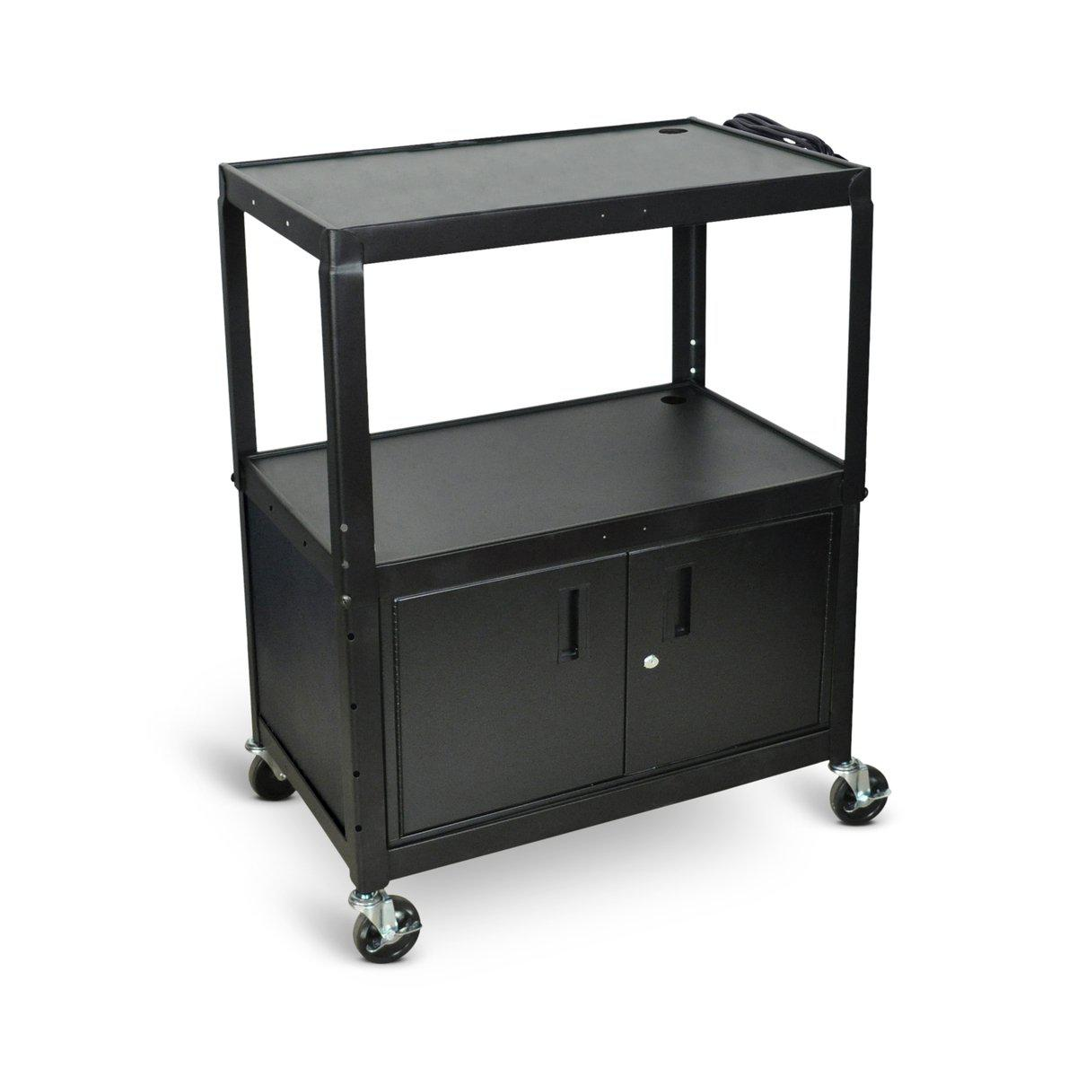 Extra-Large Adjustable-Height Steel AV Cart with Cabinet