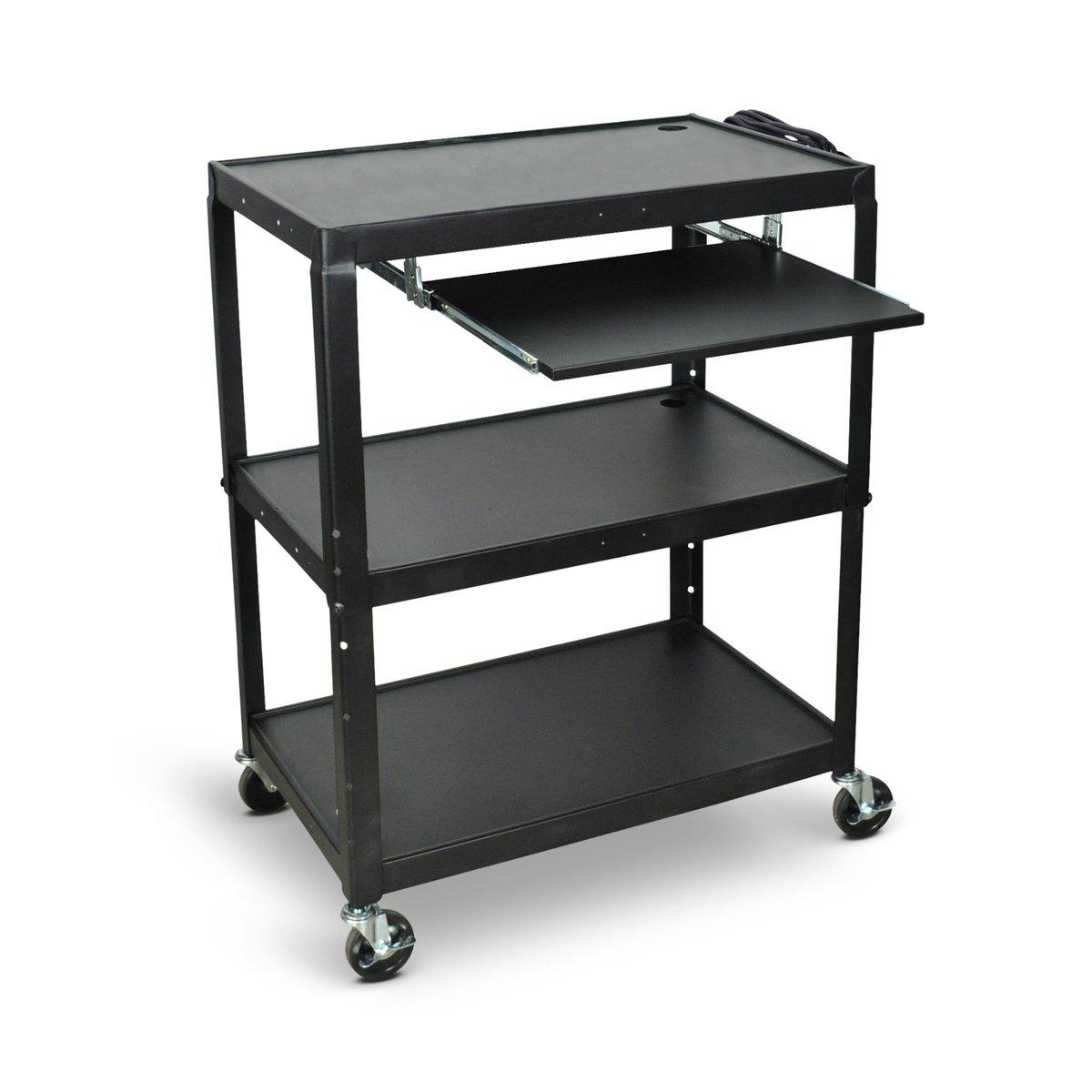 Extra Large Adjustable-Height Steel AV Cart with Pullout Keyboard Tray