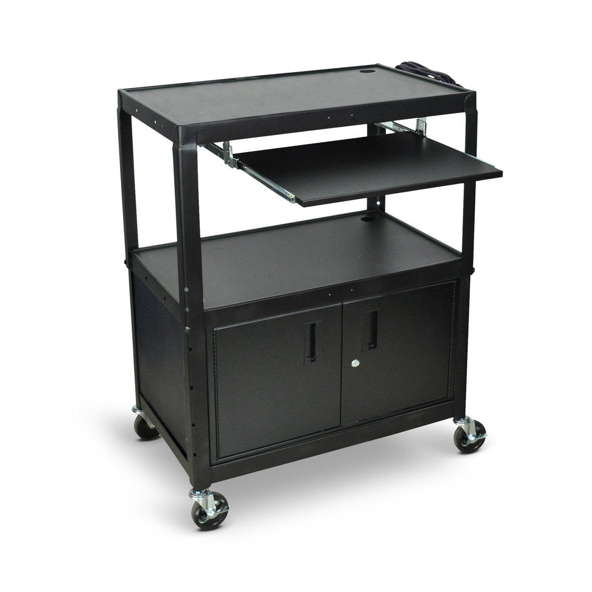 Extra Large Adjustable-Height Steel AV Cart with Cabinet and Pullout Keyboard Tray