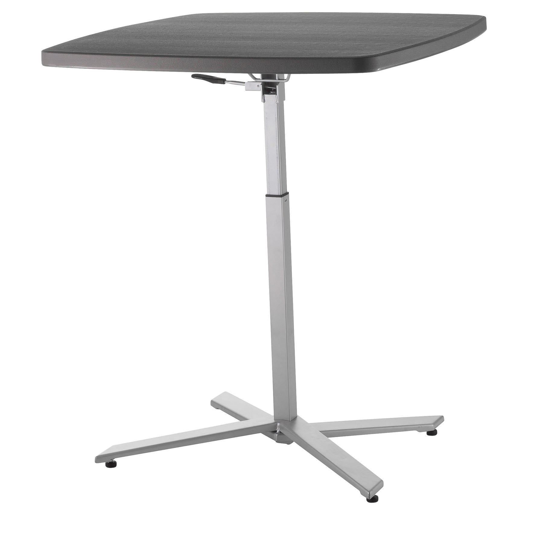 Cafe Time Adjustable-Height Table, Charcoal Slate Top & Silver Frame-Stools-
