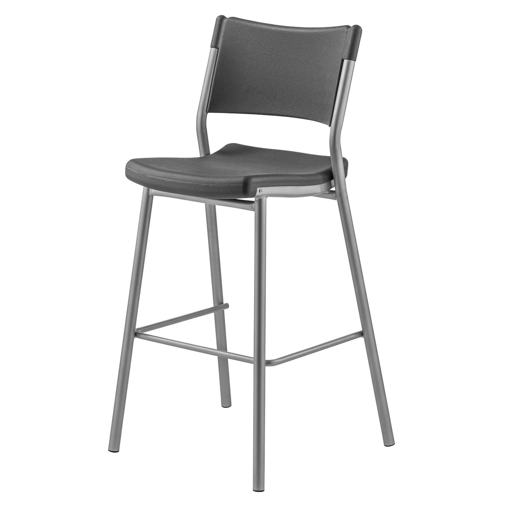 Cafe Time Stool, Charcoal Slate Top & Silver Frame