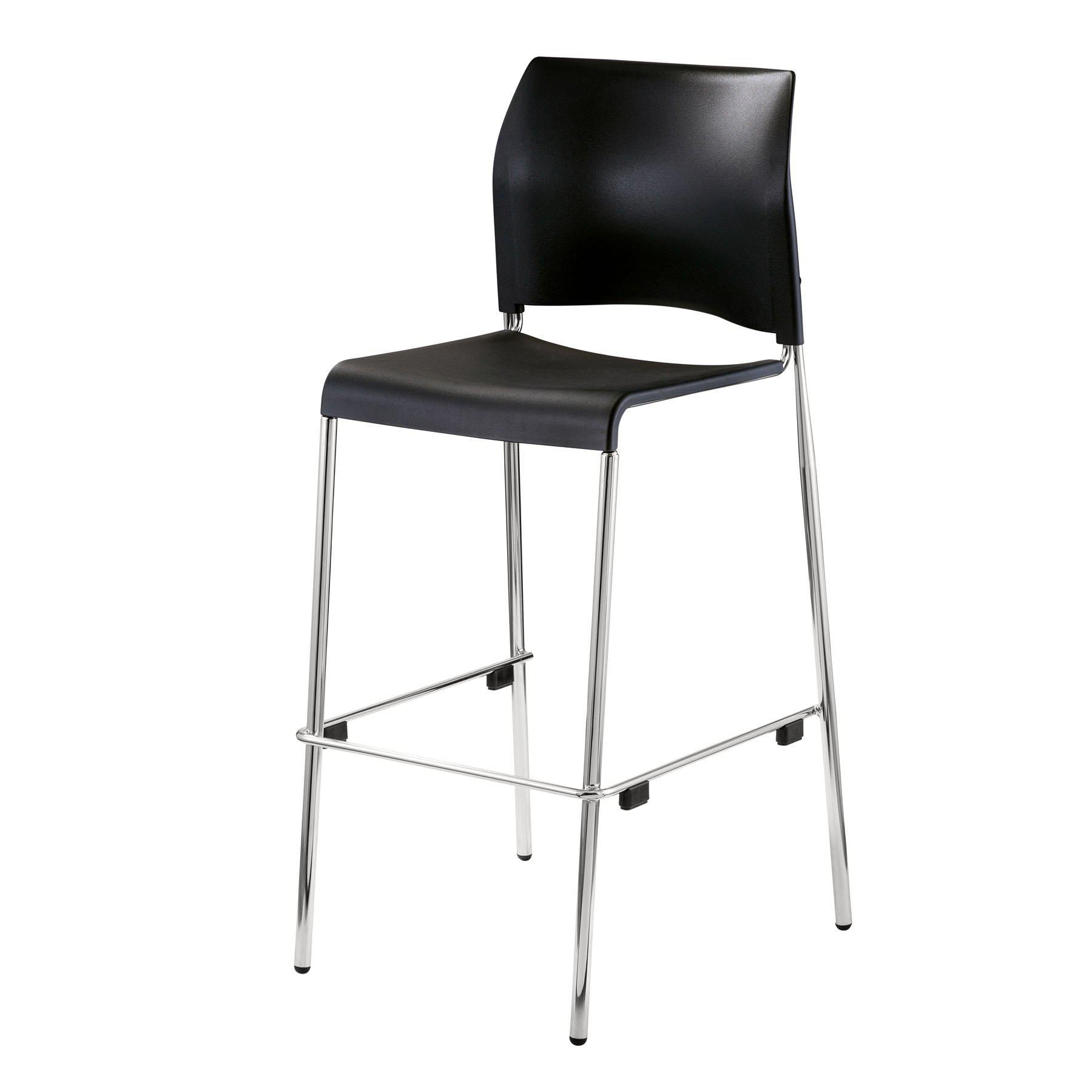 Cafetorium Bar Stool, Black Plastic Seat, Chrome Frame
