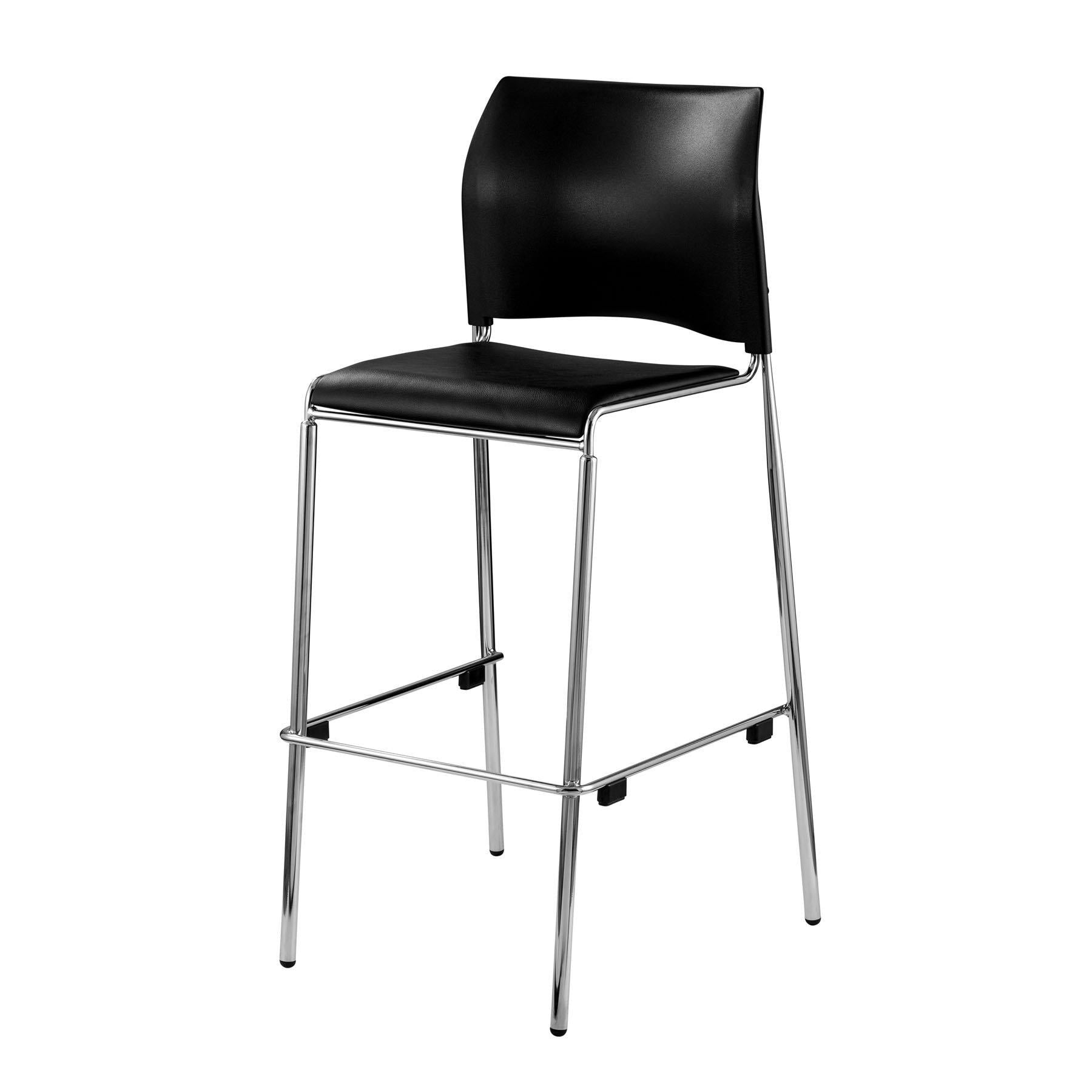 Cafetorium Bar Stool, Black Vinyl Seat, Black Plastic Back, Chrome Frame