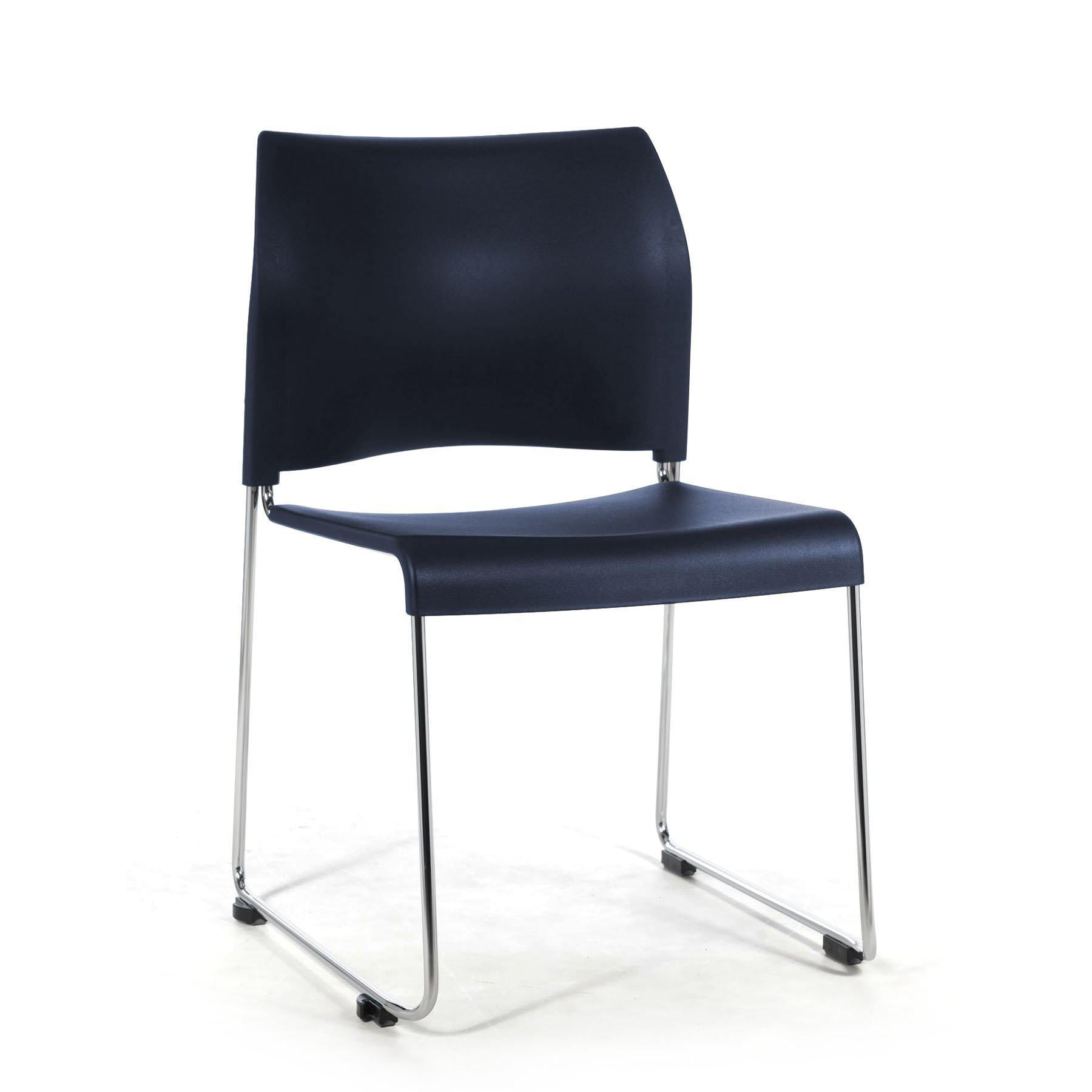Cafetorium Plastic Stack Chair-Chairs-Navy Blue on Chrome Frame-