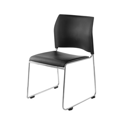 Cafetorium Plush Vinyl Stack Chair-Chairs-Black Vinyl Seat/Black Plastic Back/Chrome Frame-