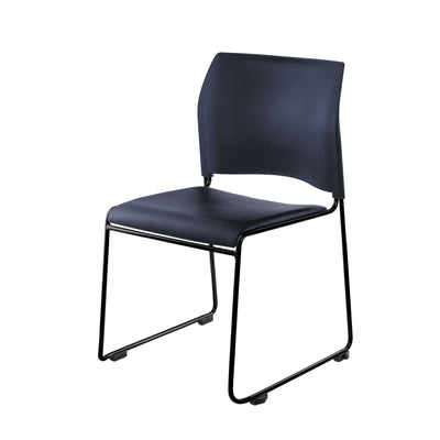Cafetorium Plush Vinyl Stack Chair-Chairs-Blue Vinyl Seat/Blue Plastic Back/Black Frame-