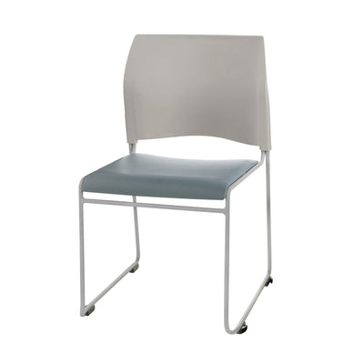 Cafetorium Plush Vinyl Stack Chair-Chairs-Blueberry Vinyl Seat/Grey Plastic Back /Silver Frame-