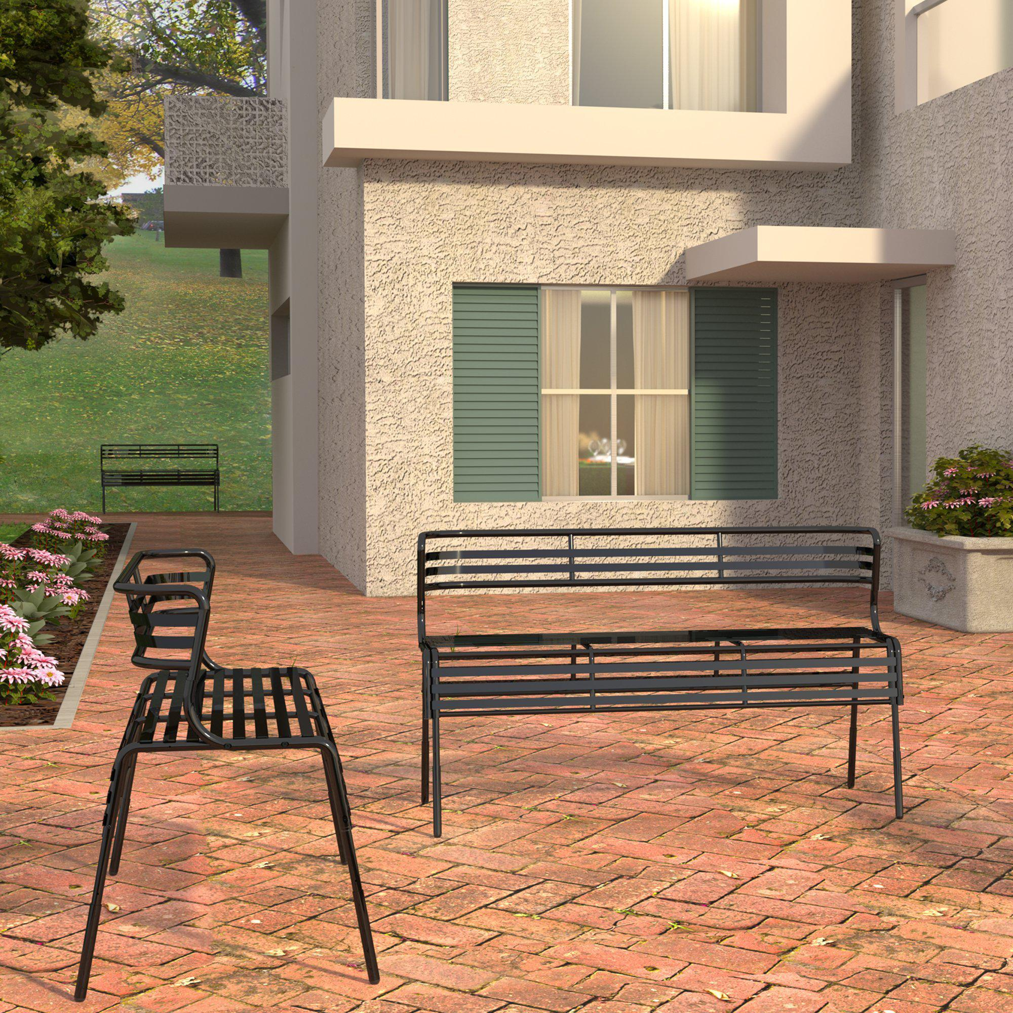 CoGo™ Steel Outdoor/Indoor Bench with Back