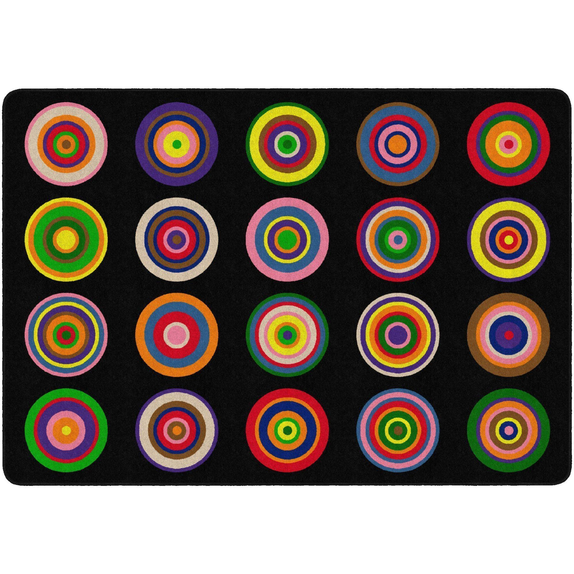 "Color Rings Rugs-Classroom Rugs & Carpets-5' 10"" x 8' 4"" (Seats 20)-Black-"