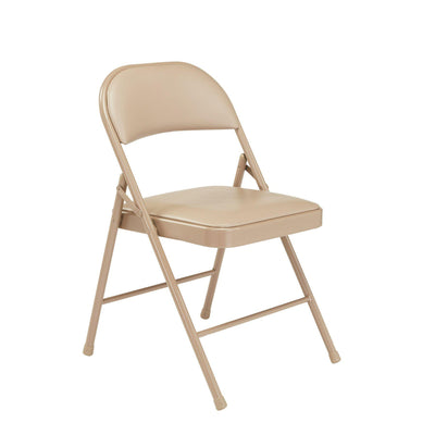 Commercialine Vinyl Padded Steel Folding Chair (Carton of 4)-Chairs-Beige-