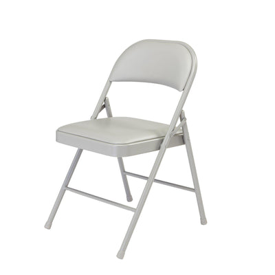 Commercialine Vinyl Padded Steel Folding Chair (Carton of 4)-Chairs-Grey-