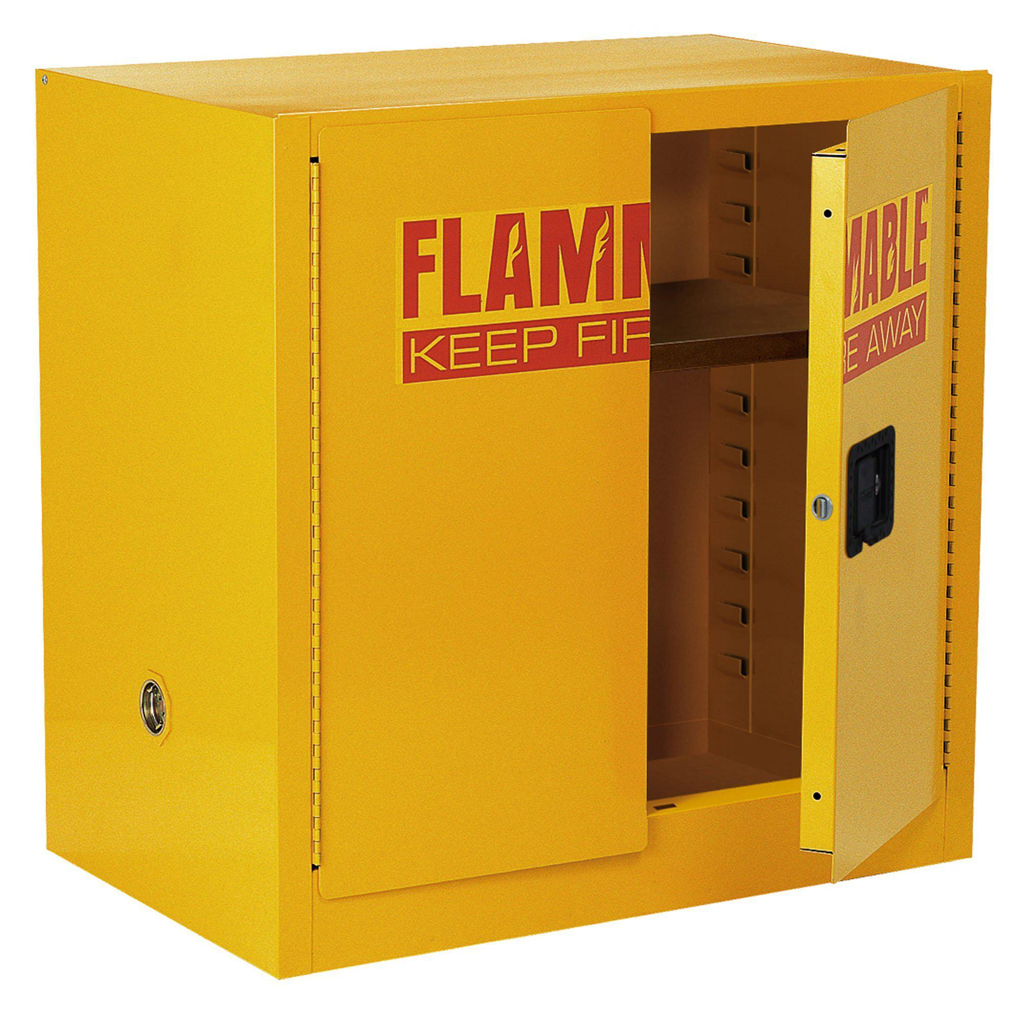 Compact Flammable Safety Cabinet With Double Door Manual Close 22 Gallon Capacity Safety Yellow 35 X 22 X 35