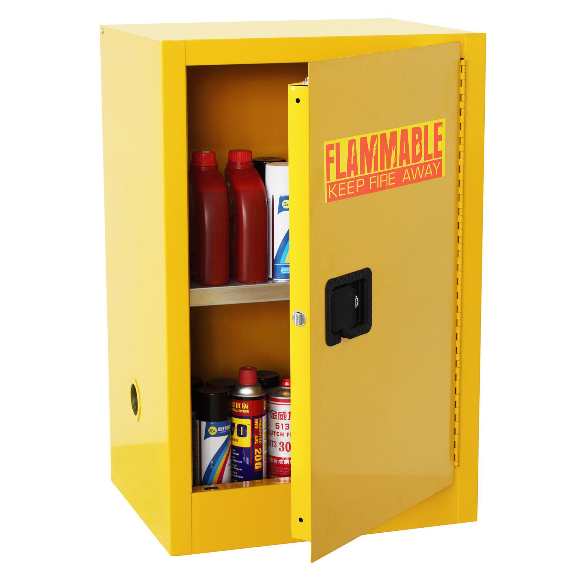 Compact Flammable Safety Cabinet with Single Door, Manual Close, 12 Gallon Capacity, Safety Yellow, 23 x 18 x 35