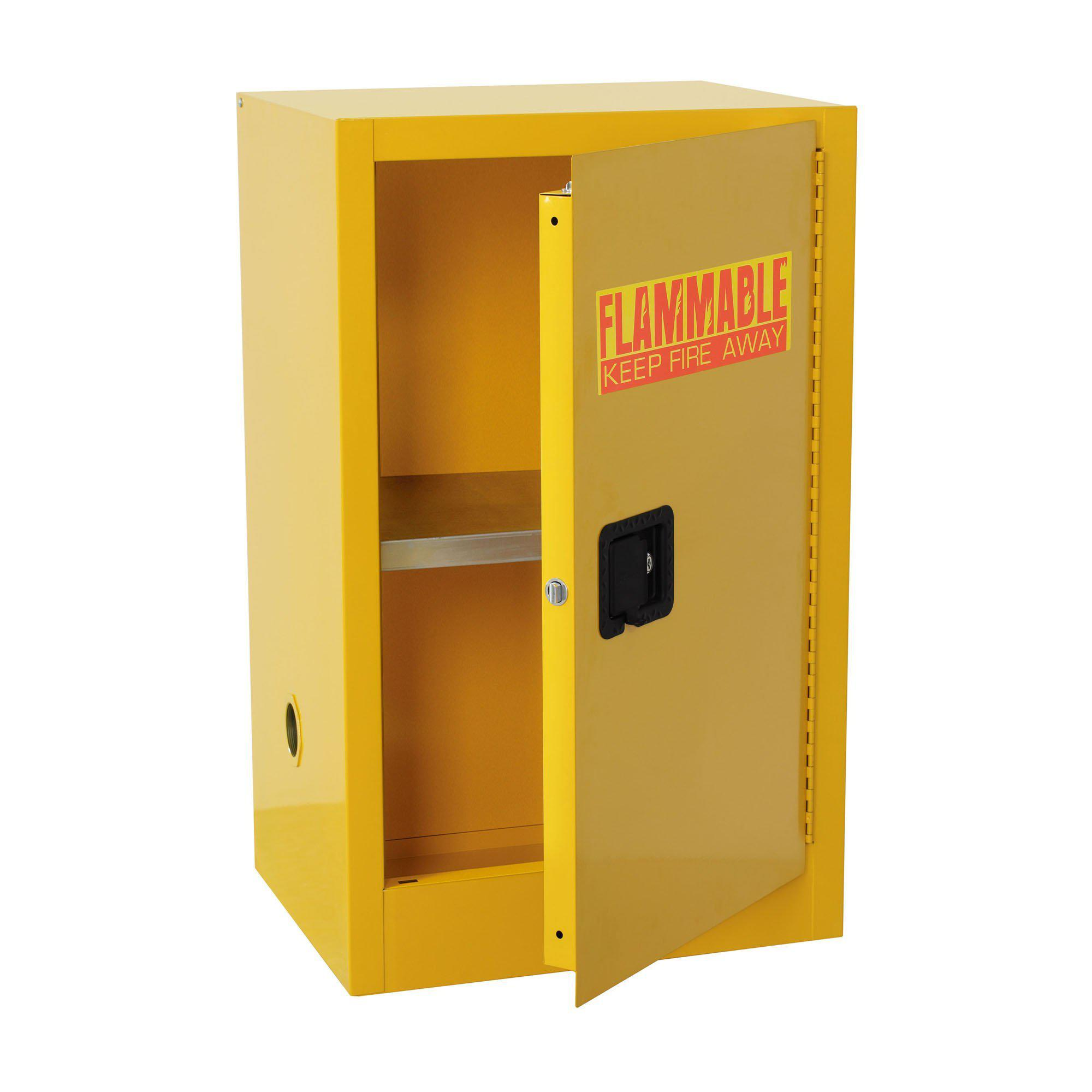 Compact Flammable Safety Cabinet with Single Door, Manual Close, 16 Gallon Capacity, Safety Yellow, 23 x 18 x 44