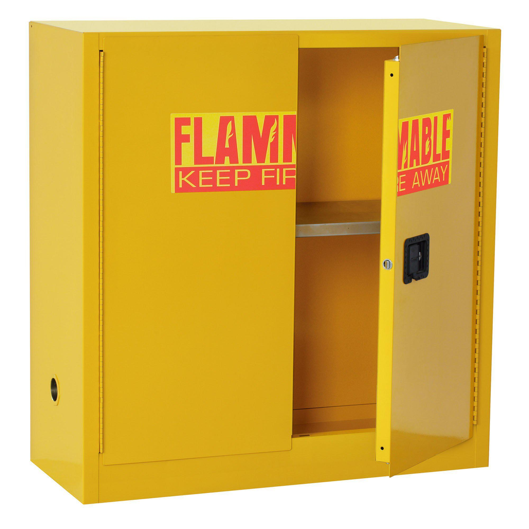 Counter Height Flammable Safety Cabinet, 30 Gallon Capacity, Safety Yellow, 43 x 18 x 44