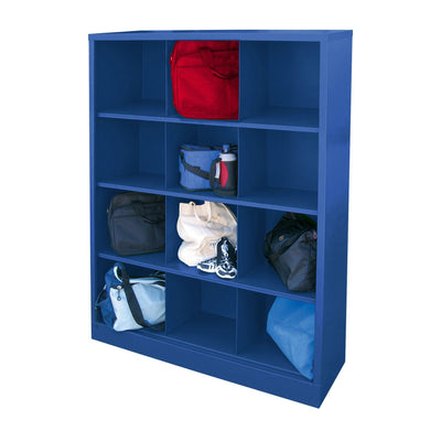 Cubby Storage Organizer, 12 Sections, 46 x 18 x 66, Blue